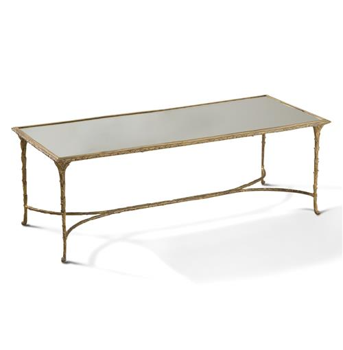 Delano Hollywood Regency Antique Gold Sculpted Leaf Mirrored Rectangular Coffee Table | Kathy Kuo Home