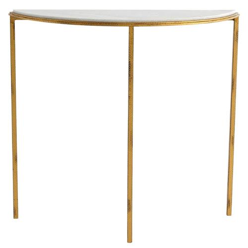 Daphne Hollywood Regency Antique Gold White Marble Demilune Console Table | Kathy Kuo Home