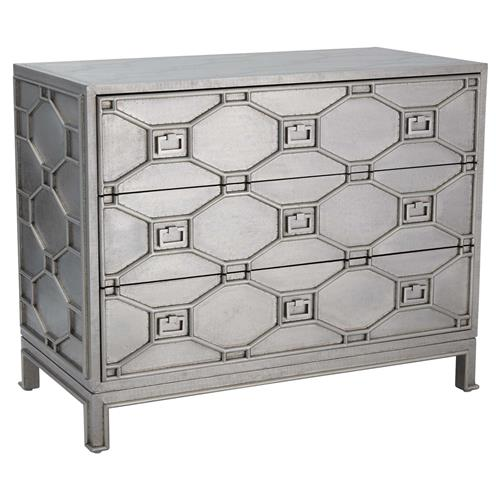 Chatham Hollywood Regency Silver Lattice Metal Clad 3 Drawer Dresser | Kathy Kuo Home