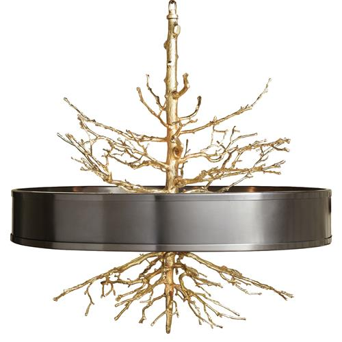 Bijou Tree Branch Hollywood Regency Brass Bronze Ceiling Pendant Lamp | Kathy Kuo Home