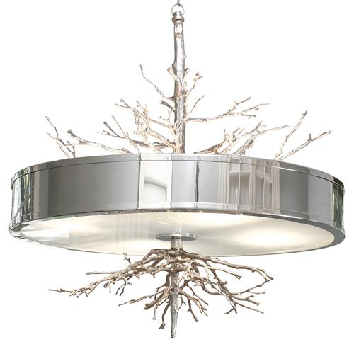 Bijou Tree Branch Hollywood Regency Silver Nickel Ceiling Pendant Lamp | Kathy Kuo Home