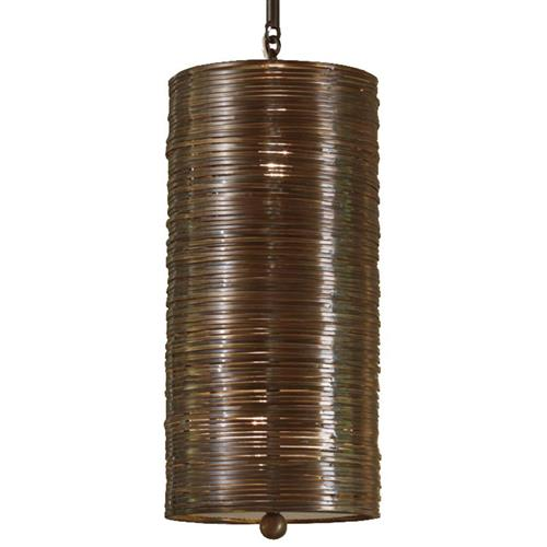 Farley Hollywood Regency Antique Bronze Coiled 1 Light Pendant Fixture | Kathy Kuo Home