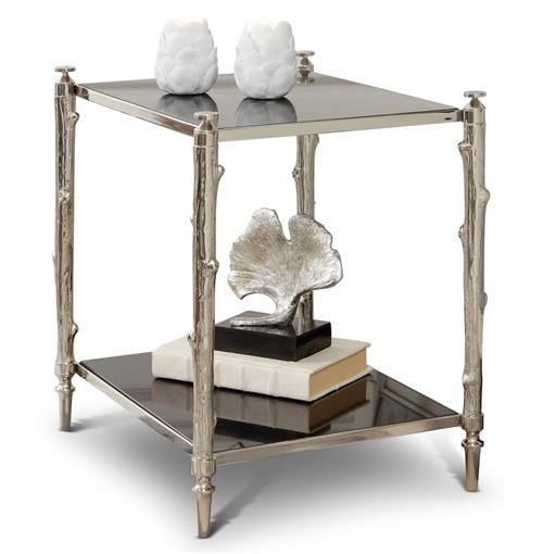 Spring Lake Coastal Beach Twig Black Marble Silver Side Table | Kathy Kuo Home