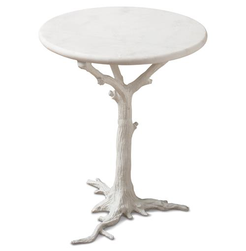 Bijou Global Bazaar White Tree Branch Iron Marble Round Accent End Table | Kathy Kuo Home