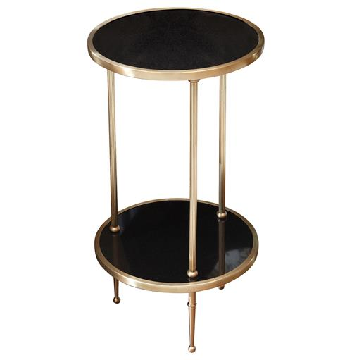 Trianon Hollywood Regency Brass Black Marble Side Table | Kathy Kuo Home