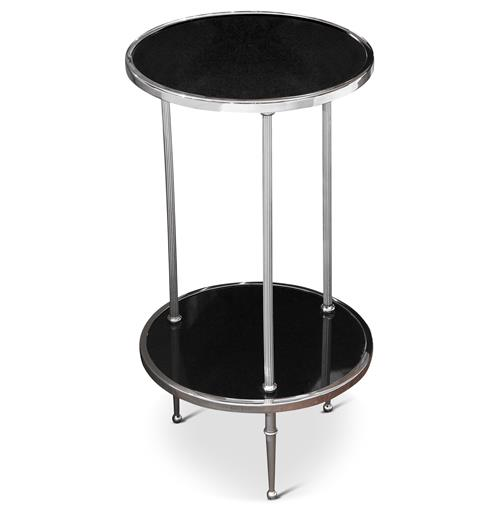 Trianon Hollywood Regency Silver Black Marble Side Table | Kathy Kuo Home