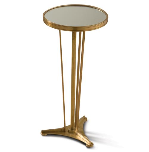 Monaco French Art Deco Regency Style Antique Brass Drink End Table | Kathy Kuo Home