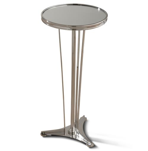 Monaco French Art Deco Regency Style Polished Silver Drink End Table | Kathy Kuo Home