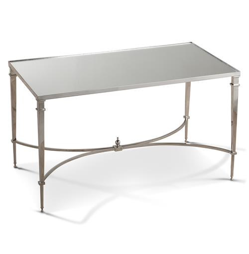 Antibes French Art Deco Regency Style Silver Mirrored End Table | Kathy Kuo Home