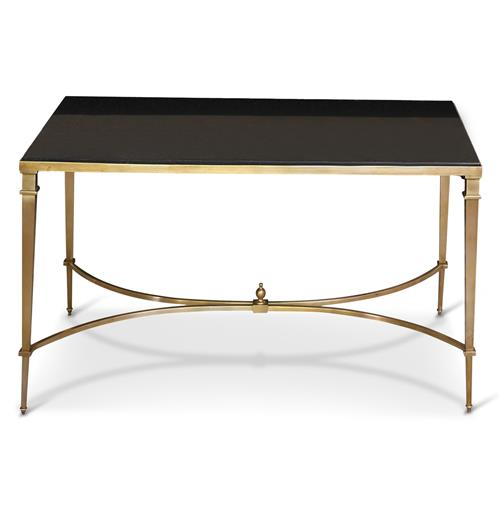 Antibes French Art Deco Regency Style Brass Black Granite End Table | Kathy Kuo Home