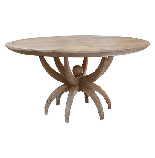 Atticus Coastal Beach White Oak Contemporary Round Dining Table | Kathy Kuo Home
