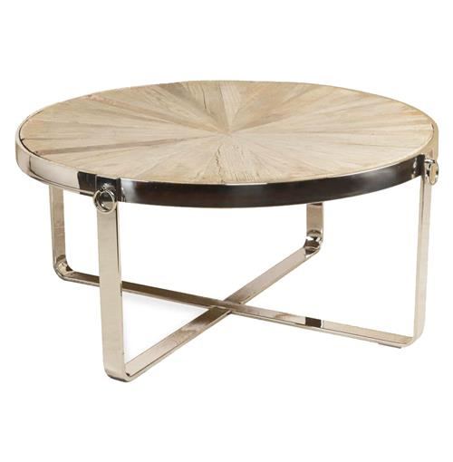 Zanuso Industrial Reclaimed Elm Stainless Steel Circular Coffee Table | Kathy Kuo Home