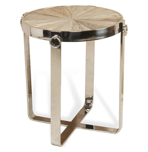 Zanuso Industrial Reclaimed Elm Stainless Steel Circular Side Table | Kathy Kuo Home