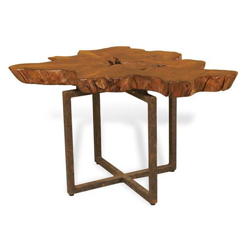 Harrer Rustic Lodge Teak Root Iron Abstract Side End Table | Kathy Kuo Home