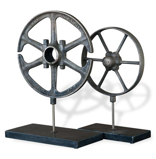 Perriand Industrial Loft Style Wheel Antique Iron Sculptures - Set of 2 | Kathy Kuo Home