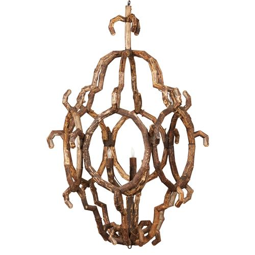 Selous Rustic Lodge Abstract Driftwood 3 Light Chandelier | Kathy Kuo Home