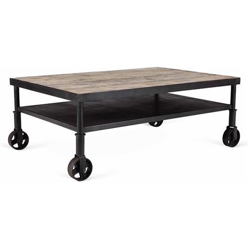 Belker Industrial Loft Reclaimed Wood Iron Casters Cart Coffee Table | Kathy Kuo Home