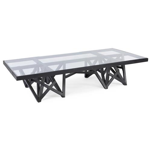 Glass Rectangular Coffee Table Tables: Zimoun Industrial Loft Glass Black Wood Rectangular Coffee