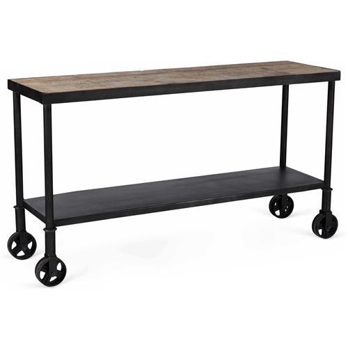 Belker industrial loft reclaimed wood iron casters cart for Sofa table on wheels