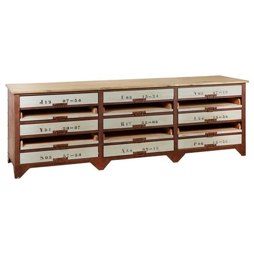 Norden industrial loft iron 15 drawer wood console sideboard for Sideboard loft