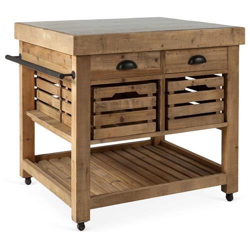 Belaney Rustic Lodge Honey Pine Wood Blue Stone 37 Inch Kitchen Island | Kathy Kuo Home