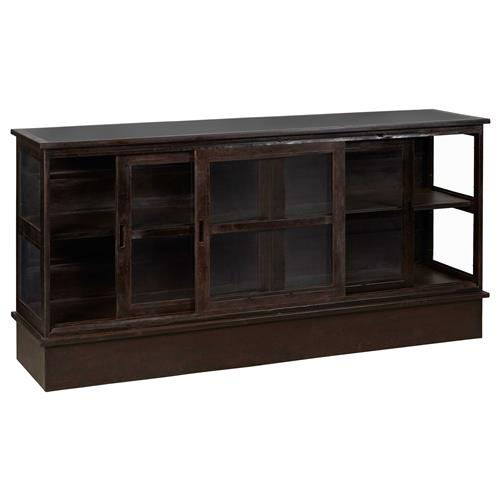 Grinnell Rustic Lodge Iron Glass Door Display TV Cabinet | Kathy Kuo Home