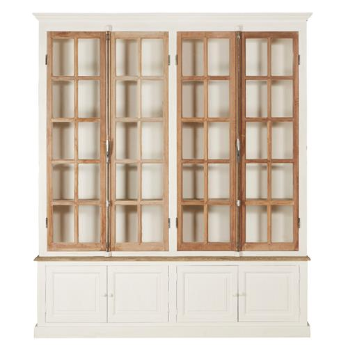 Luella French Country Rustic White Wood 4 Glass Door Display Cabinet | Kathy Kuo Home