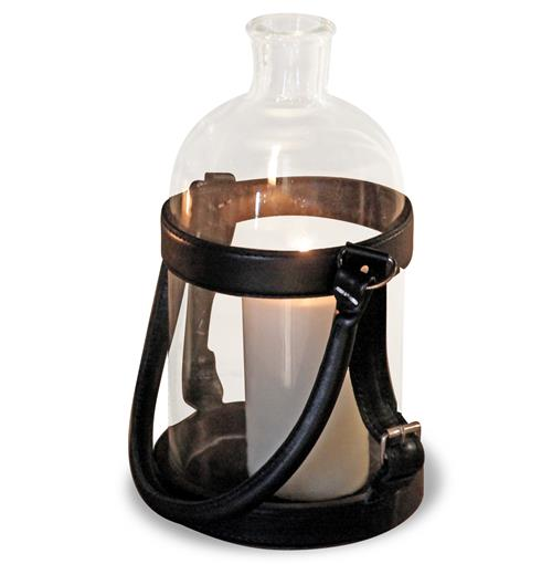 Sven Rustic Lodge Glass Leather Lantern Candle Holder - 16 Inch | Kathy Kuo Home