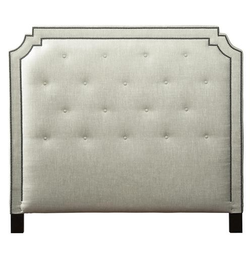 Miller Hollywood Regency Fawn Upholstered Queen Headboard | Kathy Kuo Home