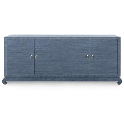Bungalow 5 Meredith Modern Classic Blue Grasscloth Wood Media Cabinet | Kathy Kuo Home