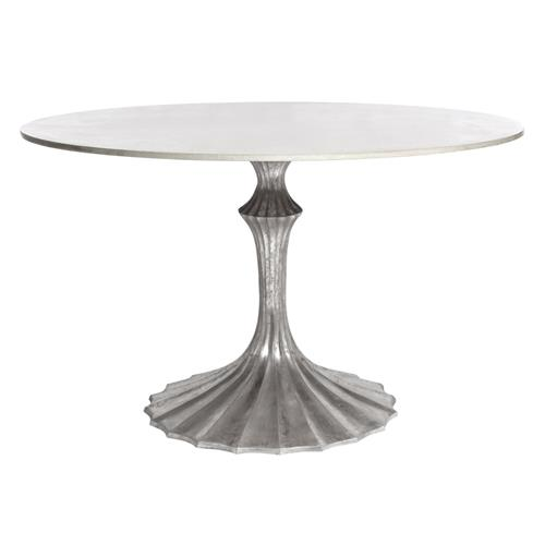 Silver Fluted Base White Marble Hollywood Regency Dining Table | Kathy Kuo Home
