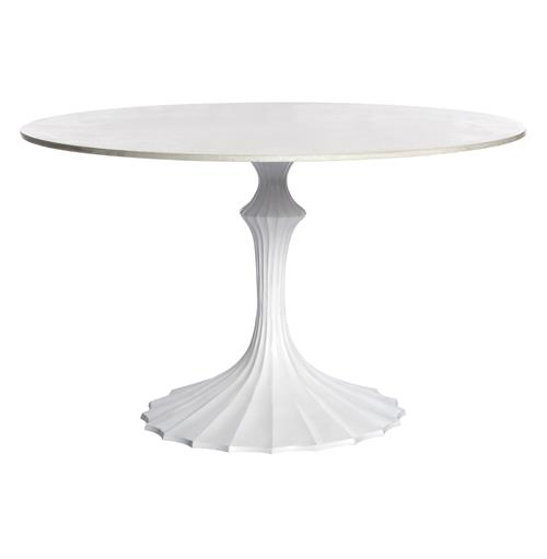 White Fluted Base White Marble Hollywood Regency Dining Table | Kathy Kuo Home