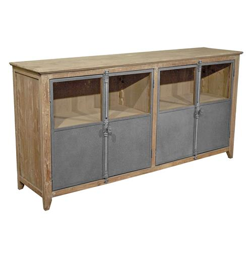 Chaucer industrial loft limed wood and metal sideboard for Sideboard loft