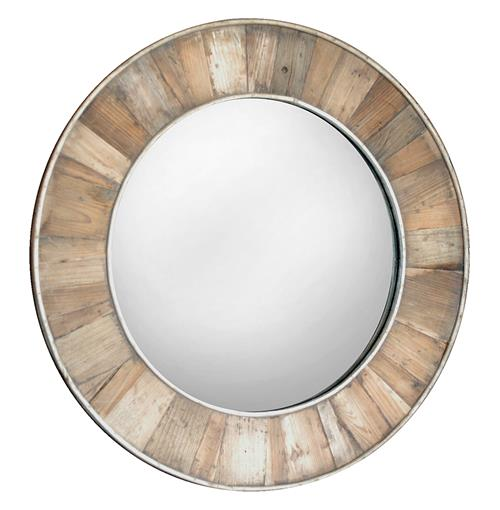 Tavern Rustic Lodge Reclaimed Pine Natural Wax Framed Round Mirror - 35.5D | Kathy Kuo Home