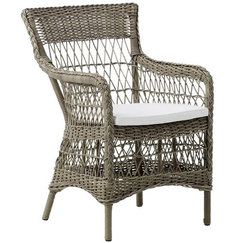 Owen Coastal Beach Snow White Aluminum Outdoor Dining Chair | Kathy Kuo Home