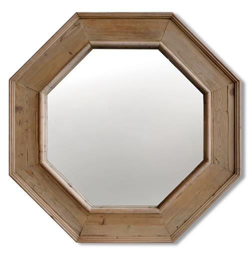 Tavern Rustic Lodge Reclaimed Pine Large Octagonal Mirror | Kathy Kuo Home