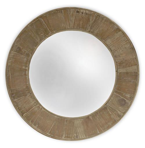 Boardwalk Rustic Lodge Old Lime Finish Reclaimed Pine Round Wall Mirror - 28.5D | Kathy Kuo Home