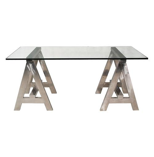 Aldo Industrial Style Stainless Steel Modern A-Frame Desk | Kathy Kuo Home