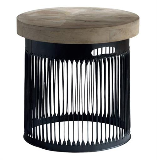 Krassa Industrial Loft Chunky Wood Round Side End Table | Kathy Kuo Home