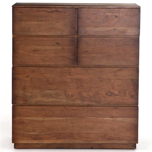 Scarlett Modern Classic Brown Acacia Wood 6 Drawer Tallboy Chest | Kathy Kuo Home