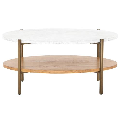 Charlotte Modern Classic White Marble Top Brown Oak Wood Oval Coffee Table 31 W 40 W Kathy Kuo Home