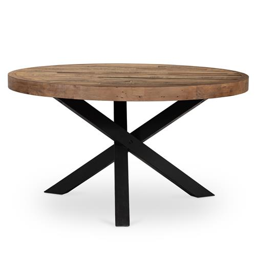 Henry Industrial Loft Brown Reclaimed Wood Iron Round Dining Table 51 D 60 D Kathy Kuo Home