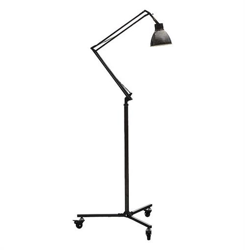 Boulton Industrial Loft Dark Nickel Adjustable Retro Floor Light | Kathy Kuo Home