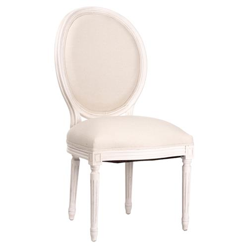 Madeleine French Country Oval Cotton White Antique Oak Dining Chair | Kathy Kuo Home