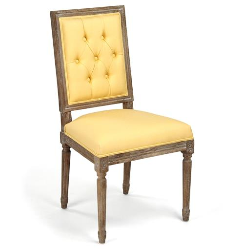 Pair Louis XVI Yellow Tufted Linen Dining Side Chair | Kathy Kuo Home