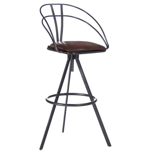 Blackthorne Industrial Loft Adjustable Height Leather Bar Stool | Kathy Kuo Home