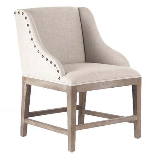 Corneille French Country Limed Oak Linen Dining Chair | Kathy Kuo Home