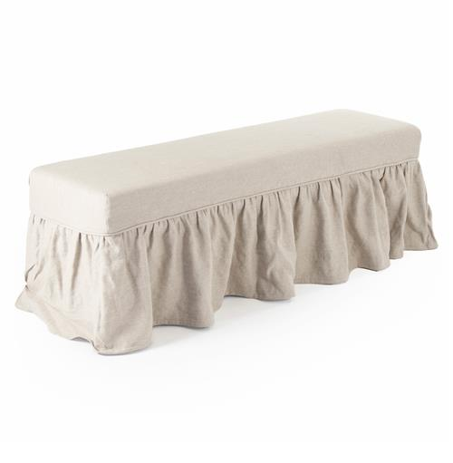 Delors French Country Linen Slipcover Skirt Bench | Kathy Kuo Home