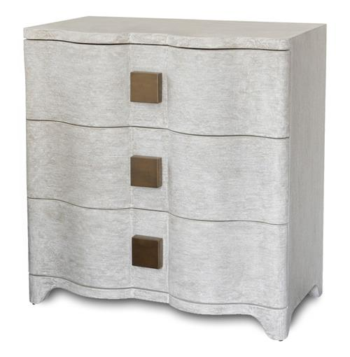 Crosby Ivory Linen Hollywood Regency Nightstand | Kathy Kuo Home