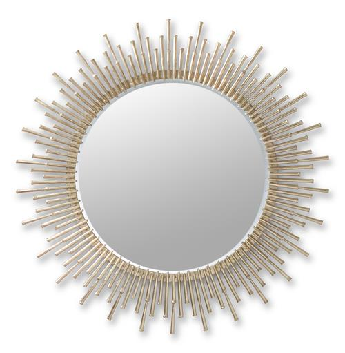 Aruba Sunburst Antique Brass Hollywood Regency Round Mirror | Kathy Kuo Home